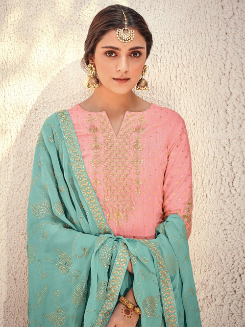 Pale Pink And Turquoise Embroidered Gharara Palazzo Suit