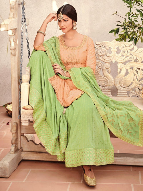 Pale Orange And Green Embroidered Gharara Palazzo Suit