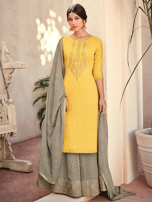 Yellow And Grey Embroidered Gharara Palazzo Suit