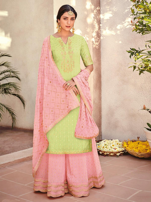 Light Green And Pink Embroidered Gharara Palazzo Suit