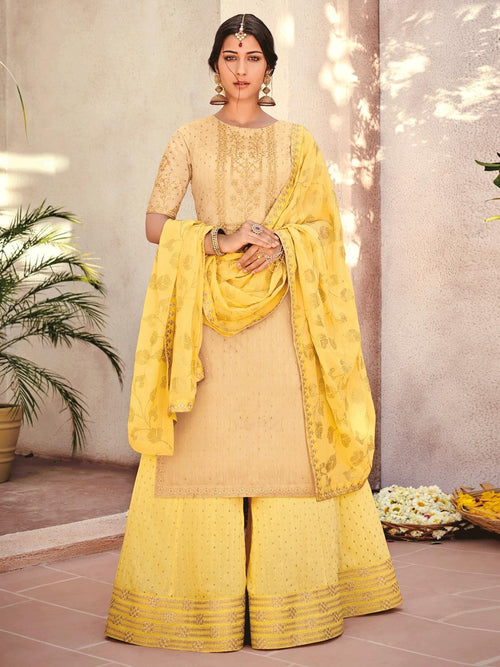 Yellow In Dual Embroidered Gharara Palazzo Suit