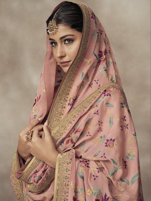 Light Pink Golden Embroidered Silk Palazzo Suit