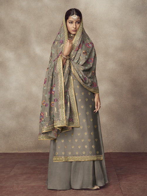 Slate Grey Golden Embroidered Silk Palazzo Suit