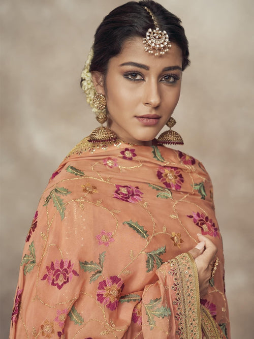 Light Orange Golden Embroidered Silk Palazzo Suit