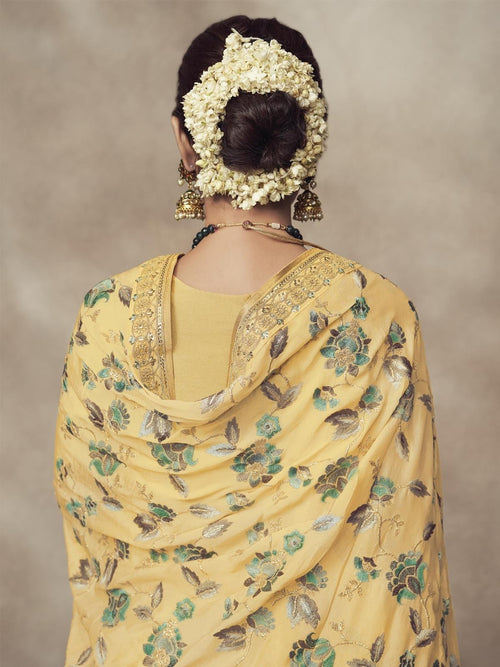 Lemon Yellow Golden Embroidered Designer Silk Palazzo Suit