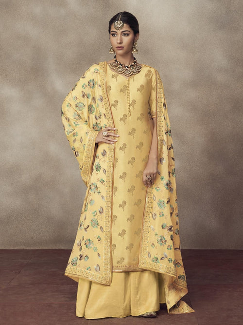Lemon Yellow Golden Embroidered Silk Palazzo Suit