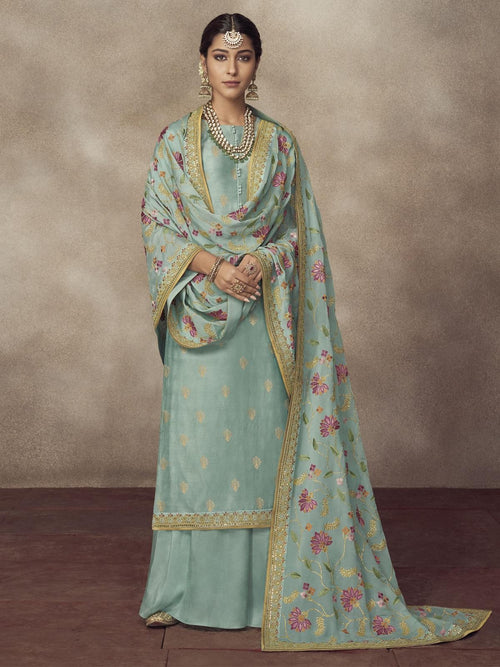 Light Blue Golden Embroidered Silk Palazzo Suit