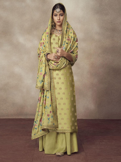 Neon Green Golden Embroidered Silk Palazzo Suit