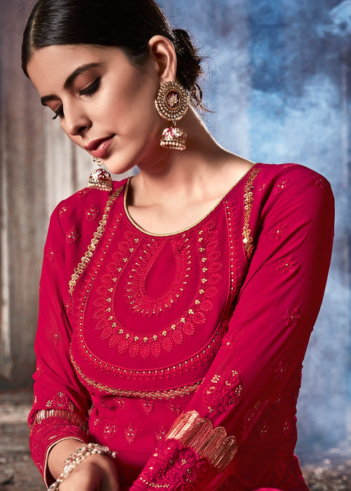 Indian Clothes - Hot Pink Anarkali Suit
