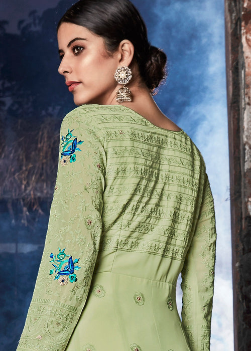 Indian Suits - Mint Green Lucknowi Anarkali Suit