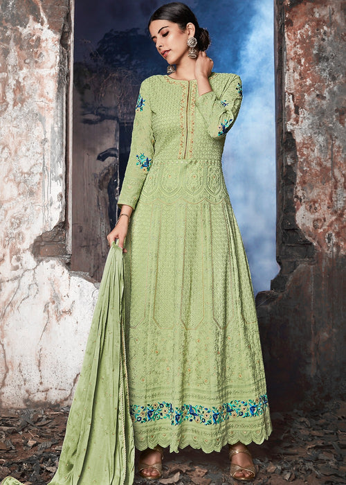 Mint Green Lucknowi Anarkali Suit