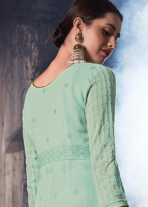 Indian Suits - Aqua Blue Anarkali Suit In usa