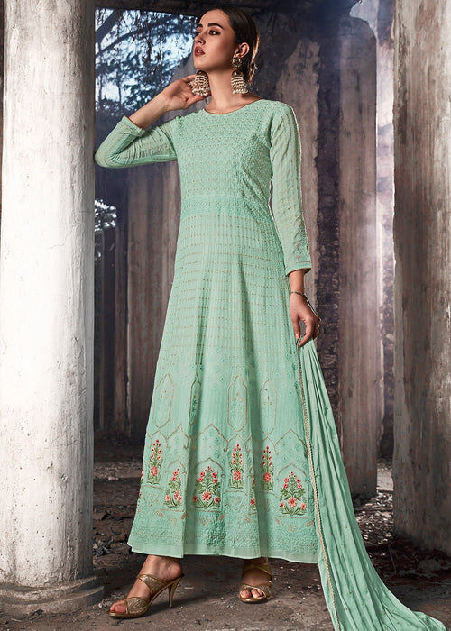 Aqua Blue Lucknowi Anarkali Suit