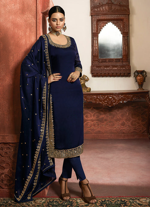 Indian Clothes - Navy Blue Silk Lehenga/Pant Suit