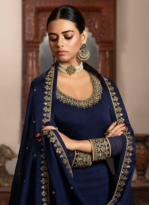 Indian Suits - Navy Blue Silk Lehenga/Pant Suit