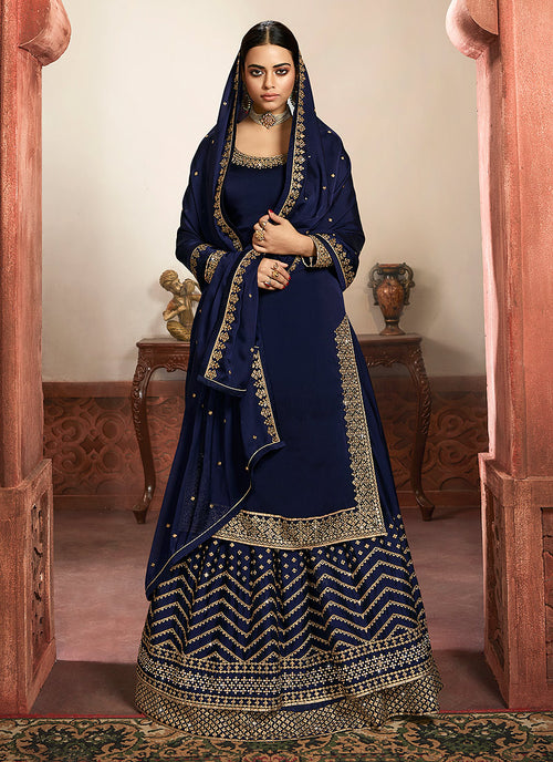 Navy Blue Silk Lehenga/Pant Suit