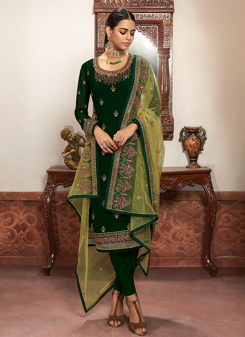 Indian Clothes - Green Multi Embroidered Lehenga/Pant Suit