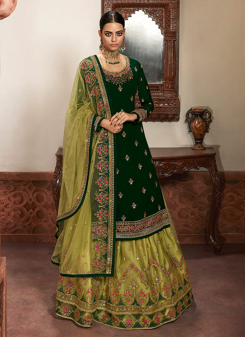 Green Embroidered Lehenga/Pant Suit