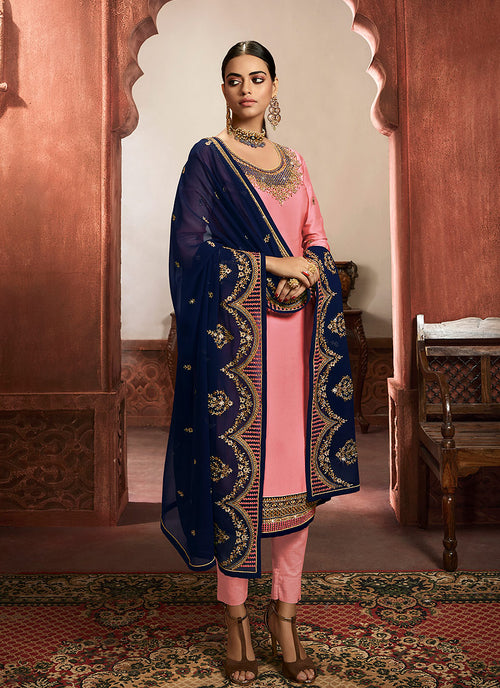 Indian Clothes - Pink And Blue Lehenga/Pant Suit