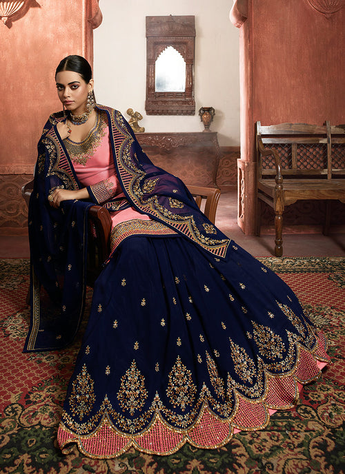 Indian Suits - Pink And Blue Lehenga/Pant Suit