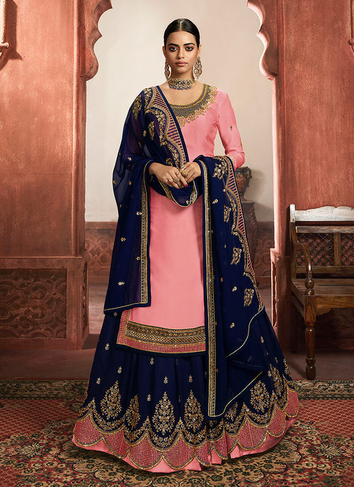Pink And Blue Lehenga/Pant Suit
