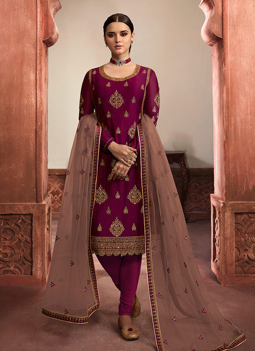Indian Clothes - Maroon And Mauve Embroidered Lehenga/Pant Suit