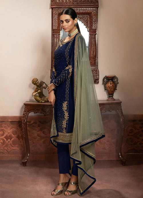 Indian Clothes - Blue And Mint Green Embroidered Lehenga/Pant Suit