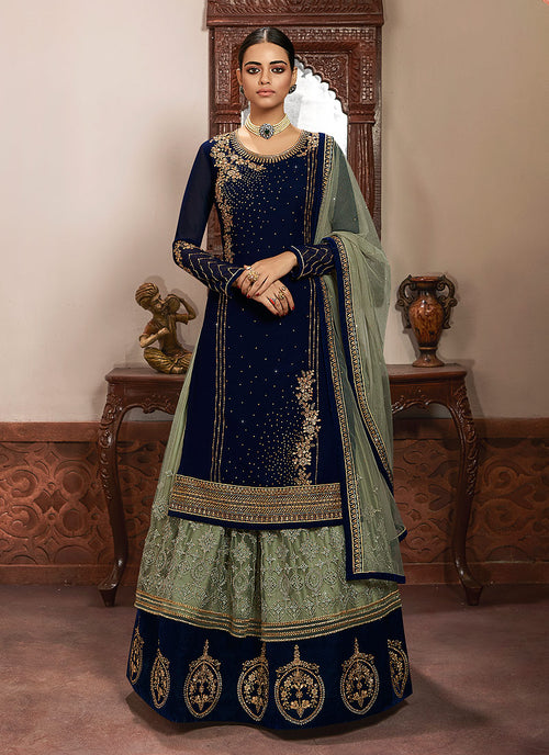 Blue And Mint Green Lehenga/Pant Suit
