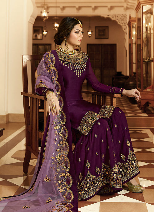 Purple And Gold Pakistani Gharara Suit
