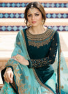 Peacock Blue Pakistani Gharara Suit
