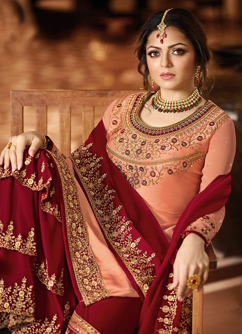 Peach And Red Pakistani Gharara Suit