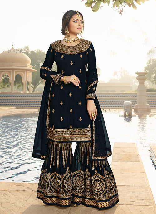Black Ethic Pakistani Gharara Suit