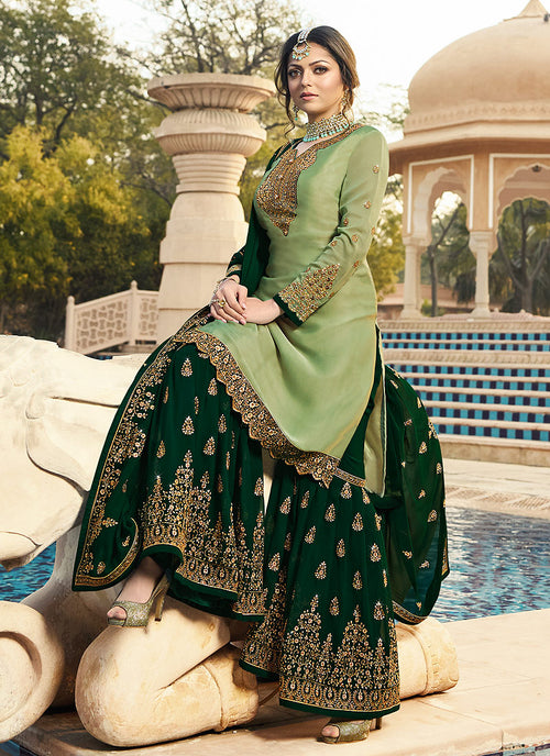 Green Ethic Embroidered Pakistani Gharara Suit