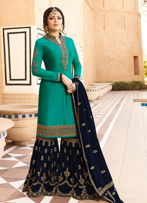 Turquoise And Blue Pakistani Gharara Suit