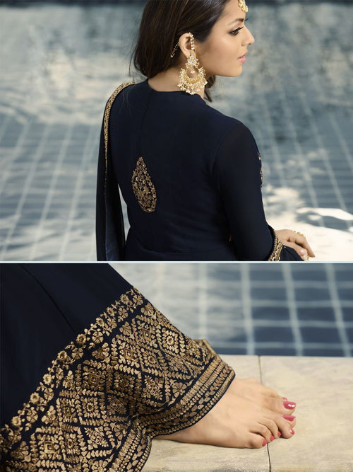 Navy Blue Embroidered Party Wear Lehenga Suit