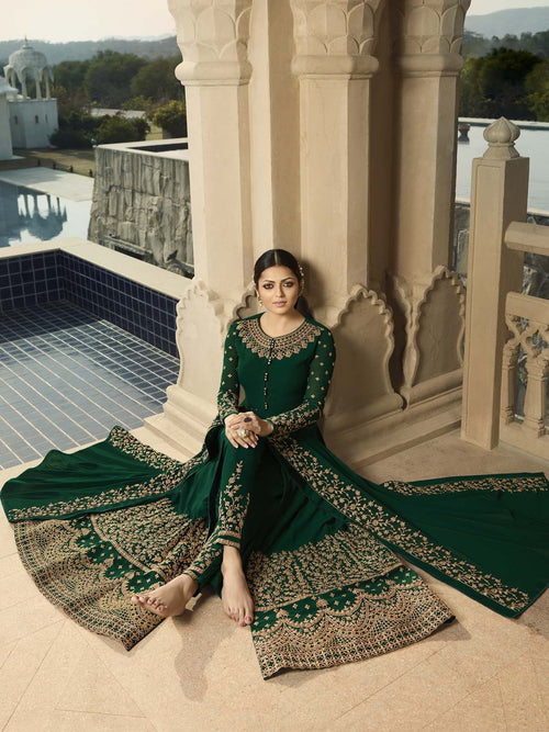 Deep Green Party Wear Anarkali Pant Suit Online