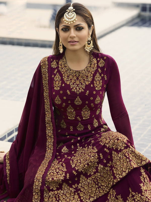 Maroon Golden Wedding Lehenga Suit Online