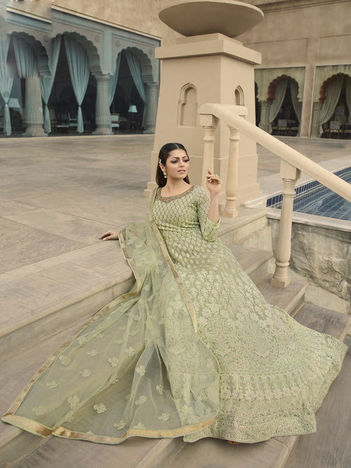 Light Green Chikankari Anarkali Suit Online
