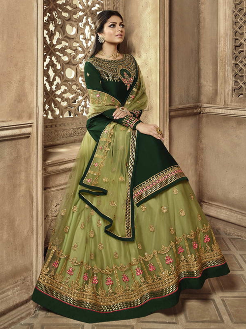 Green Embroidered Wedding Lehenga Kurti