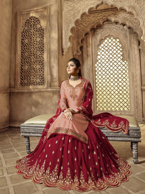 Peach And Red Wedding Lehenga Kurti