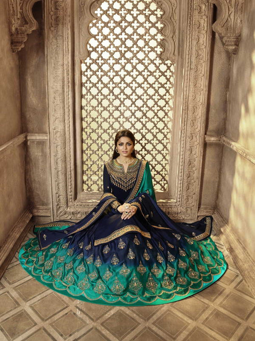 Deep Blue Party Wear Lehenga Suit