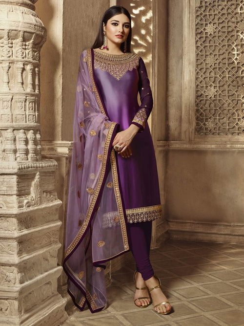 Purple Golden Party Wear Lehenga Suit