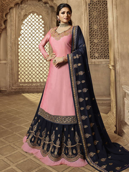 Pink And Deep Blue Wedding Lehenga Suit