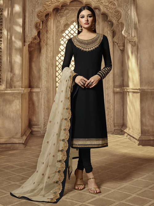 Black Golden Party Wear Lehenga Suit