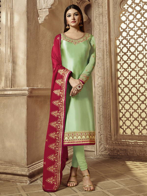 Mint Green And Red Wedding Lehenga Kurti Set