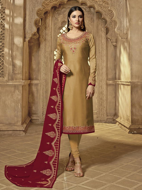 Red And Golden Party Wear Lehenga Suit