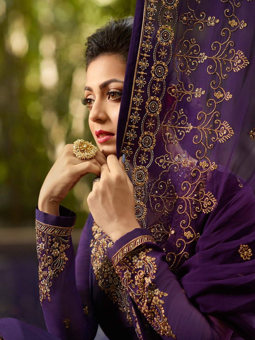 Purple Golden Traditional Churidar Suit