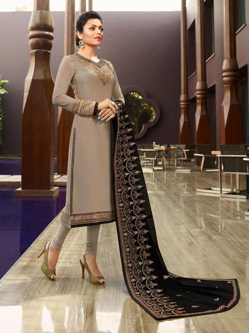 Taupe And Black Traditional Churidar Suit