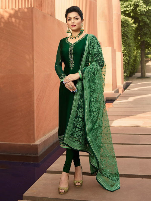 Green In Combination Embroidered Churidar Suit