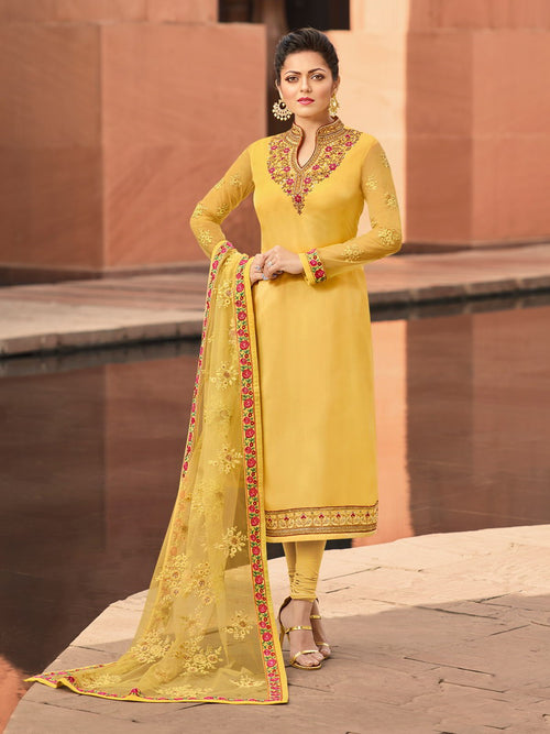 Yellow Traditional Multi Churidar Suit